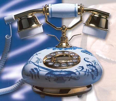 Blue Onion Porcelain Telephone - click for big picture